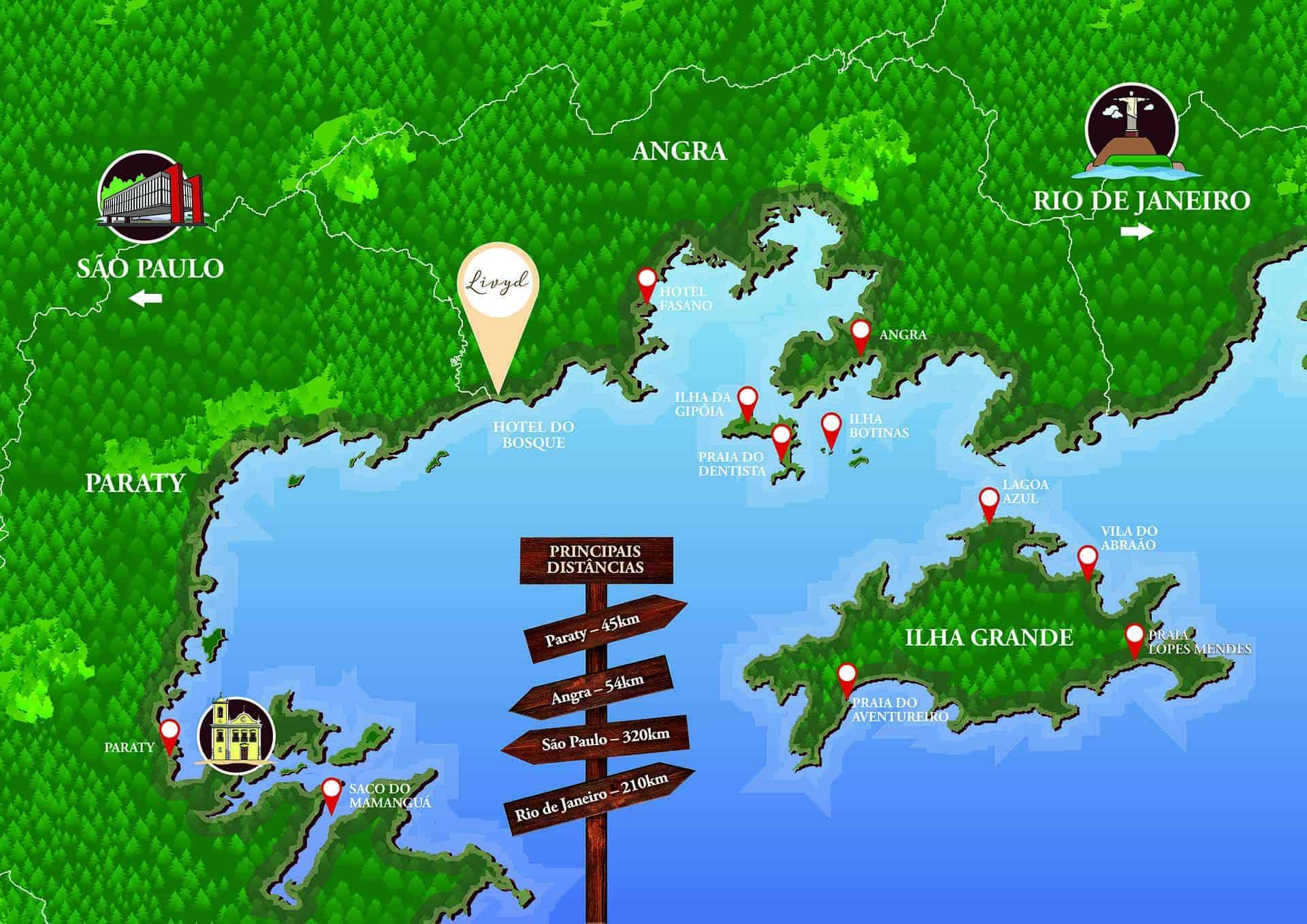 Mapa Endereço Livyd Hotel do Bosque - Angra dos Reis - Rio de Janeiro - RJ