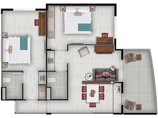 Apartamento Brisa - Planta - Livyd Angra dos Reis